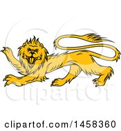 Clipart Of A Golden Yellow Heraldic Lion Royalty Free Vector Illustration