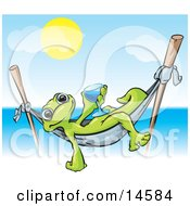 Green Gecko Relaxing In A Hammock Suspended On Two Sticks And Holding A Blue Alcoholic Beverage In A Glass While On Vacation In Hawaii On A Hot Sunny Day Clipart Illustration