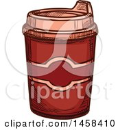 Takeout Coffee Cup In Sketched Style