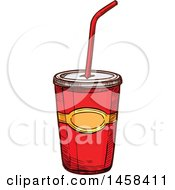 Clipart Of A Fountain Soda In Sketched Style Royalty Free Vector Illustration