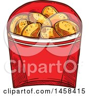Carton Of Potato Chips In Sketched Style