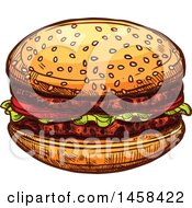 Hamburger In Sketched Style
