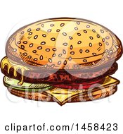 May 24th, 2017: Clipart Of A Cheeseburger In Sketched Style Royalty Free Vector Illustration by Vector Tradition SM