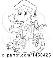 Black And White Crocodile Student Wearing A Graduation Cap And Giving A Thumb Up
