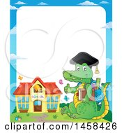 Clipart Of A Border Of A Crocodile Student Giving A Thumb Up Near A Building Royalty Free Vector Illustration by visekart