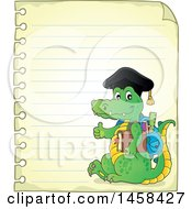 Clipart Of A Crocodile Student Giving A Thumb Up On Ruled Paper Royalty Free Vector Illustration by visekart
