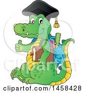 Clipart Of A Crocodile Student Wearing A Graduation Cap And Giving A Thumb Up Royalty Free Vector Illustration by visekart