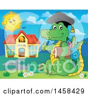 Clipart Of A Crocodile Student Giving A Thumb Up By A School Building Royalty Free Vector Illustration by visekart