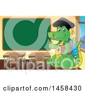 Clipart Of A Crocodile Student Giving A Thumb Up In A Class Room Royalty Free Vector Illustration by visekart
