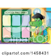 Clipart Of A Crocodile Student Giving A Thumb Up By A School Time Table Royalty Free Vector Illustration by visekart