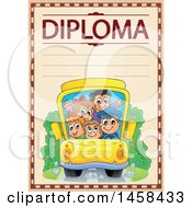 School Diploma Design With A Bus Of Kids