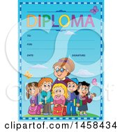 School Diploma Design With Children And A Teacher