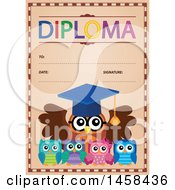 School Diploma Design With Owls