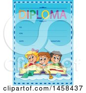 School Diploma Design With Children On An Open Book