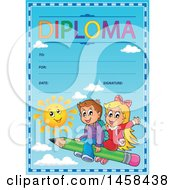 School Diploma Design With Children Flying On A Pencil