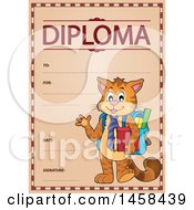 School Diploma Design With A Student Cat