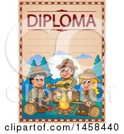 Clipart Of A School Diploma Design Withs Camping Scout Children Royalty Free Vector Illustration