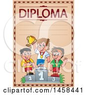 School Diploma Design With Boys On Placement Podiums