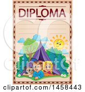 School Diploma Design With Camping Children
