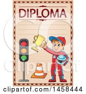 Clipart Of A School Diploma Design With A Racer Boy Royalty Free Vector Illustration by visekart