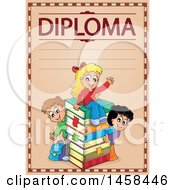 School Diploma Design With Children And A Stack Of Books