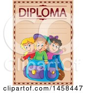 School Diploma Design With Children In A Backpack
