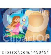 Clipart Of A Parchment Scroll In A Cave With A Fairy Royalty Free Vector Illustration by visekart