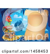 Clipart Of A Parrot On A Treasure Chest By A Parchment Scroll In A Cave Royalty Free Vector Illustration