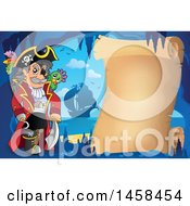May 24th, 2017: Clipart Of A Pirate Captain By A Parchment Scroll In A Cave Royalty Free Vector Illustration by visekart
