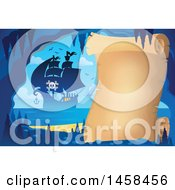 May 24th, 2017: Clipart Of A Parchment Scroll In A Cave Near A Pirate Ship Royalty Free Vector Illustration by visekart