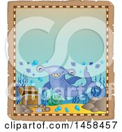 Clipart Of A Parchment Border With A Hammerhead Shark And A Treasure Chest Royalty Free Vector Illustration by visekart