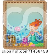 Parchment Border With A Mermaid And A Treasure Chest