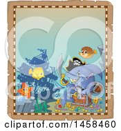 Clipart Of A Parchment Border With A Pirate Shark And A Treasure Chest Royalty Free Vector Illustration by visekart