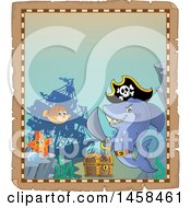 Parchment Border With A Pirate Shark And A Treasure Chest