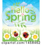 Clipart Of A Hellow Spring Sky Over Ladybugs On Flowers Royalty Free Vector Illustration