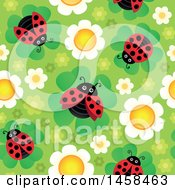 Poster, Art Print Of Seamless Background Of Ladybugs On Flowers Against Green