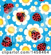 Clipart Of A Seamless Background Of Ladybugs On Flowers Against Blue Royalty Free Vector Illustration