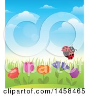 Clipart Of A Ladybug Flying Over Flowers Against A Blue Spring Sky Royalty Free Vector Illustration