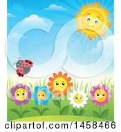 Poster, Art Print Of Ladybug Flying Over Happy Flowers Against A Blue Spring Sky And Sun