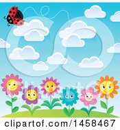 Clipart Of A Ladybug Flying Above Happy Flowers Royalty Free Vector Illustration