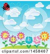 Poster, Art Print Of Ladybug Flying Above Happy Flowers
