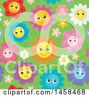 Clipart Of A Seamless Background Of Happy Smiling Flowers On Green Royalty Free Vector Illustration by visekart