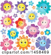 May 24th, 2017: Clipart Of Happy Smiling Flowers Royalty Free Vector Illustration by visekart