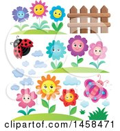 Clipart Of A Ladybug With Cloud Fence Butterfly And Flower Designs Royalty Free Vector Illustration