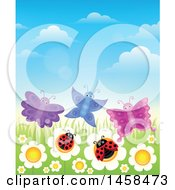 Clipart Of A Row Of White Daisies With Butterflies And Ladybugs Royalty Free Vector Illustration by visekart