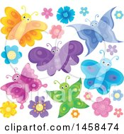 May 24th, 2017: Clipart Of Colorful Butterflies And Flowers Royalty Free Vector Illustration by visekart