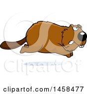 Clipart Of A Mad Beaver Running Royalty Free Vector Illustration