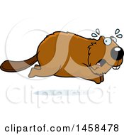 Clipart Of A Scared Beaver Running Royalty Free Vector Illustration