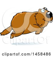 Clipart Of A Happy Woodchuck Groundhog Whistlepig Jumping Royalty Free Vector Illustration