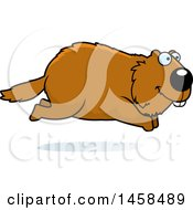 Clipart Of A Happy Woodchuck Groundhog Whistlepig Running Royalty Free Vector Illustration